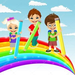 depositphotos_102228464-stock-illustration-three-little-children-drawing-rainbow